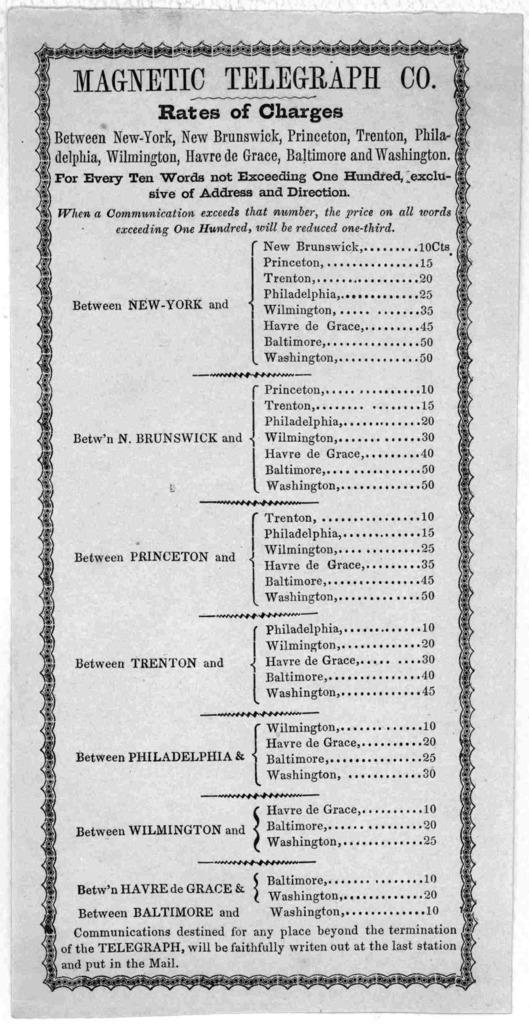 Rates of charges between New-York, New Brunswick, Princeton, Trenton, Philadelphia, Wilmington, Havre de Grace, Baltimore and Washington ... [184-?].