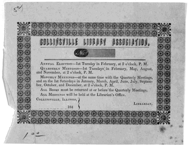 [Rules.] Collinsville, Illinois ----- 184-.