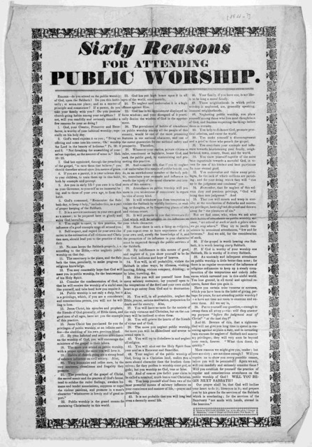 """Sixty reasons for attending public worship ... New Haven, Ct. Printed by William Storer, Jun. at the office of the """"Literary Emporium. [184-?]."""