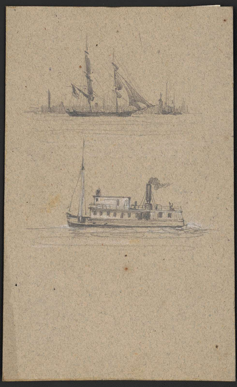 Study sketches of two ships - a sailing ship and a steamship, possibly a ferry