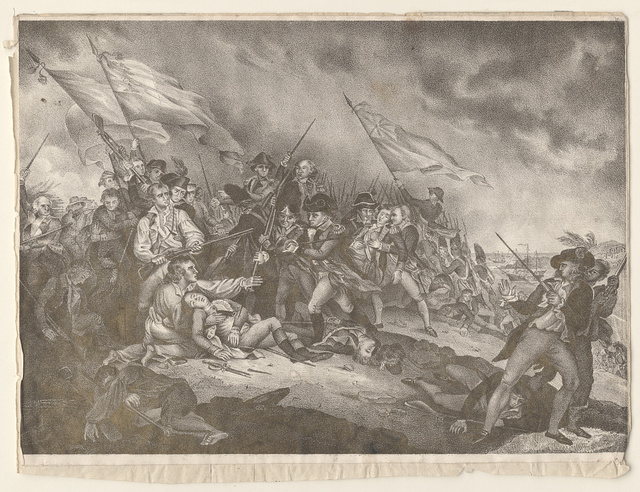 [The battle of Bunker's Hill, June 17th 1775] / [painted by J. Trumbull ; on stone by A. Hoffy]