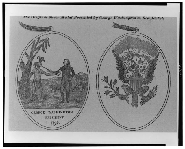 The original silver medal presented by George Washington to Red Jacket