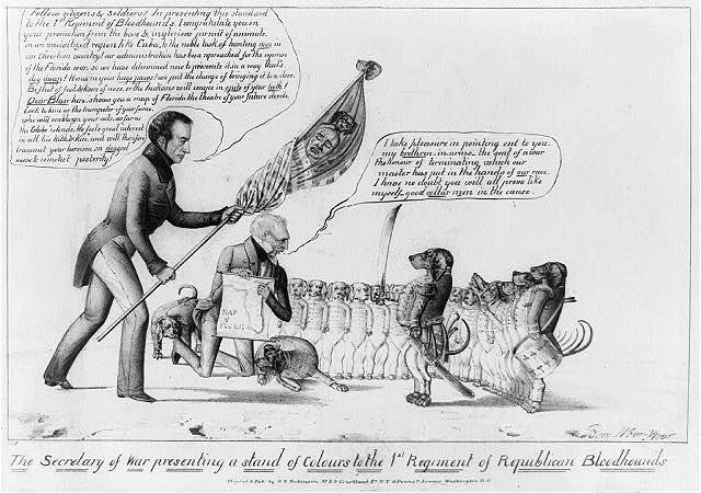 The Secretary of War presenting a stand of colours to the 1st Regiment of Republican bloodhounds