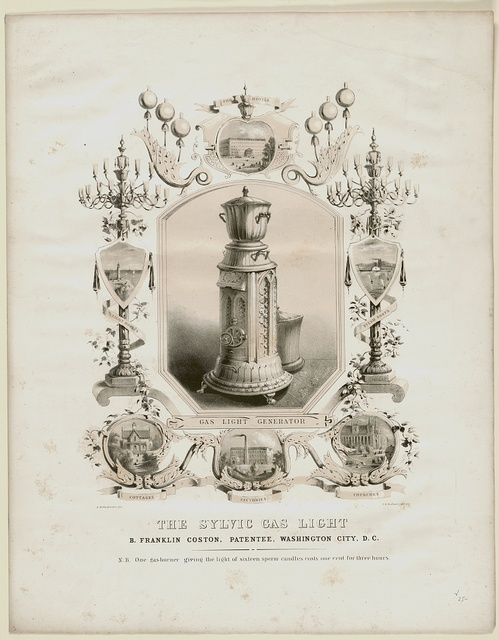 The sylvic gas light B. Franklin Coston, patentee, Washington City, D.C. / / A. De Vaudricourt del. ; C.B. Graham's Lithy. D.C.