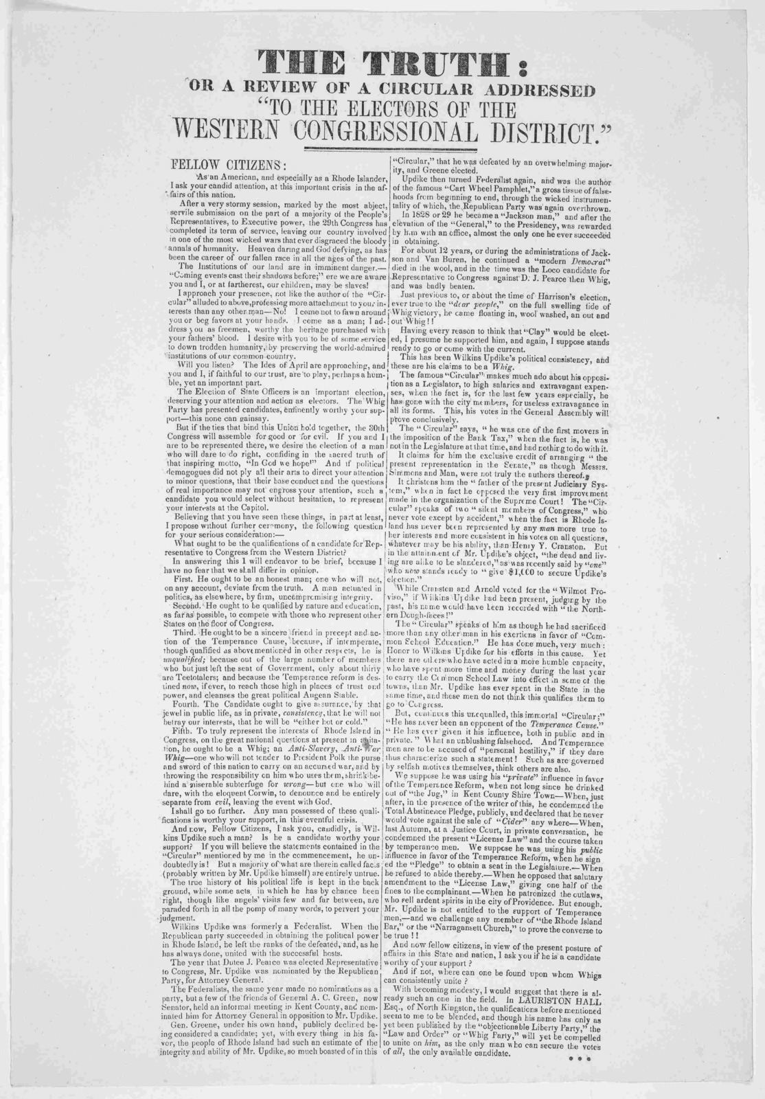 """The truth: or, A review of a circular addressed """"To the electors of the Western Congressional district."""" [184-]."""