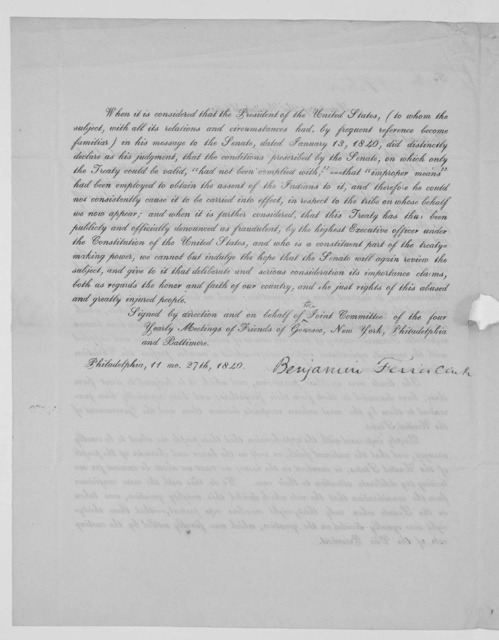 """To Senate of the United States. Respected friend. We ask permission to place in thy hands the accompanying statement of """"the case of the Seneca Indians"""" to which we respectfully solicit thy attention ... Signed by direction and on behalf of join"""