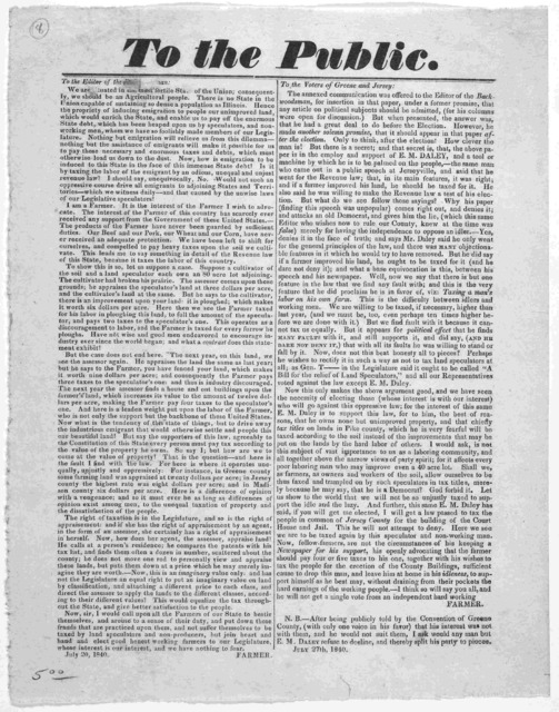 To the public. [Regarding agricultural interests of the state of Illinois] Signed Farmer. July 27th 1840. [s. l.]