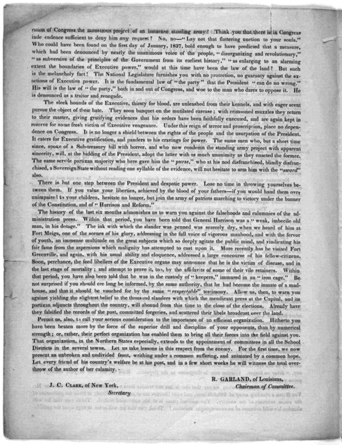To the Whigs and conservatives of the United States. Executive committee room, Washington, August 25, 1840.