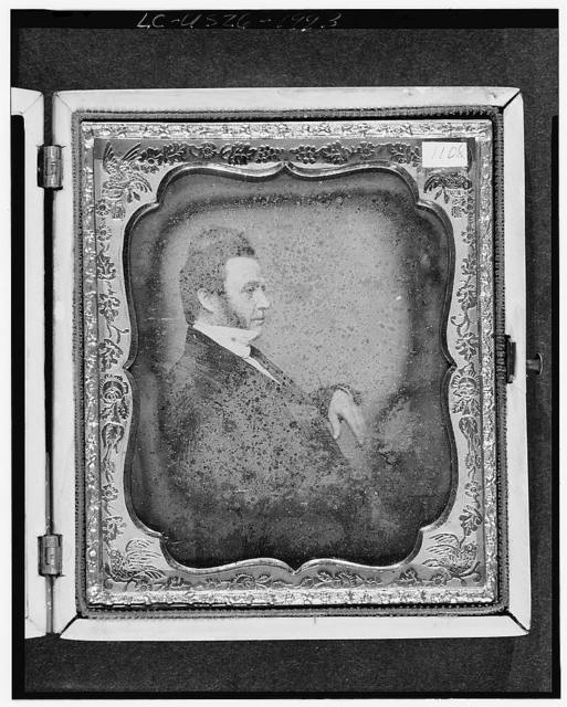 [Unidentified man, possibly David Roberts, three-quarter length portrait, profile]