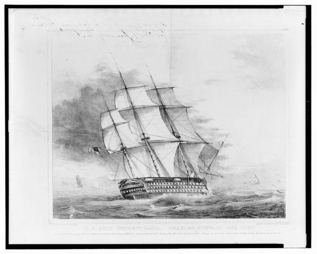 U.S. Ship Pennsylvania. Charles Stewart Esq. Comr. / Drawn on stone by Charles C. Barton, U.S.N. ; Lith. & Pubd. by Lehmann & Duval Philadelphia.