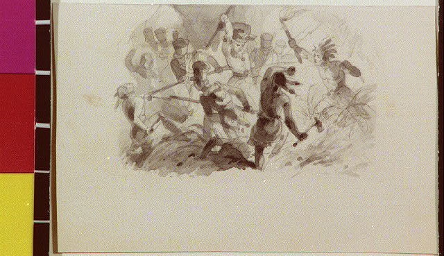 [War of 1812 battle scene with soldiers and Indians]