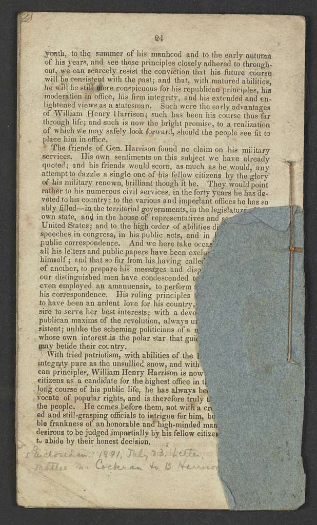 William Henry Harrison Papers: Series 4, Printed Matter, 1815-1922; Subseries B, Pamphlets Concerning Harrison; 1840 , 7 items