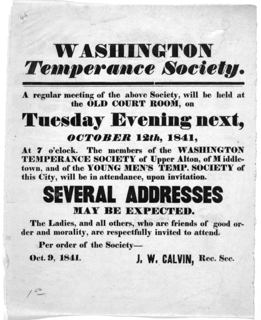 ... A regular meeting of the above society, will be held at the Old Court Room, on Tuesday evening next, October 12th, 1841, at 7 o'clock .... J. W. Calvin, Rec. Sec. Oct. 9, 1841.