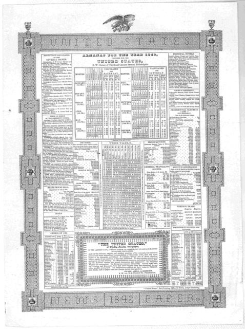 "Almanac for the year 1842 prepard for the United States, S.W. Corner of Third and Chesnut Streets, Philadelphia ... ""United States"" Job Printing Office, 3d Story, Ledger Building."