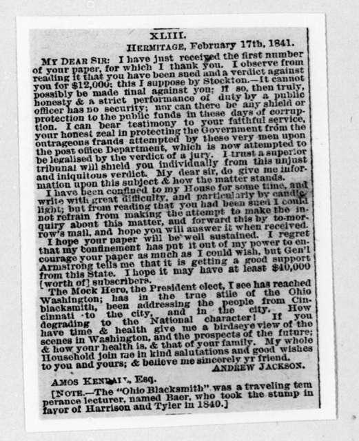 Andrew Jackson to Amos Kendall, February 17, 1841