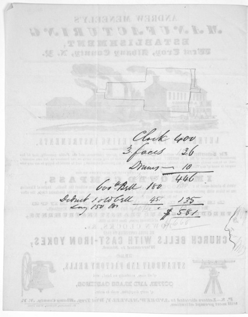 Andrew Meneely's manufacturing establishment, West Troy, Albany County. N.Y, [Advertisement.] West Troy. W. Hollands, printer [1841].