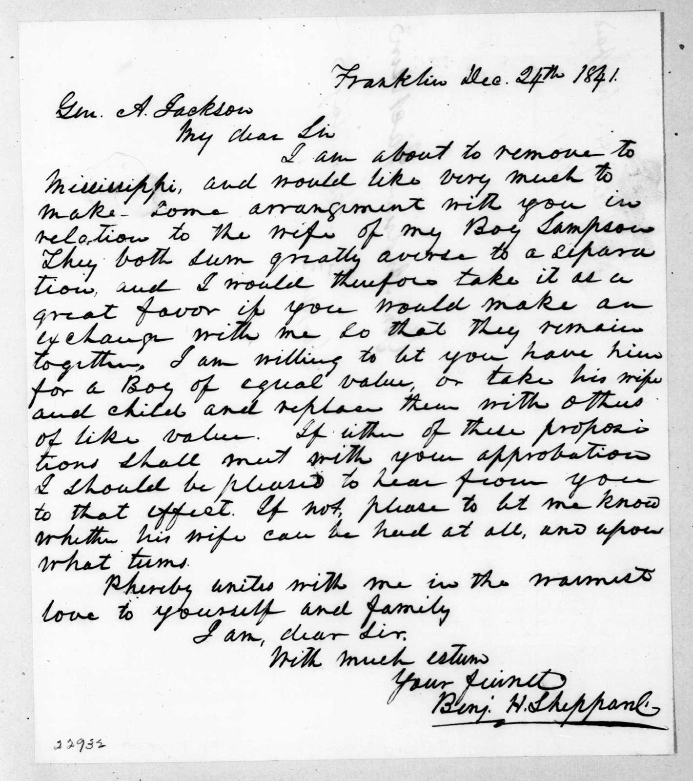 Benjamin H. Sheppard to Andrew Jackson, December 24, 1841