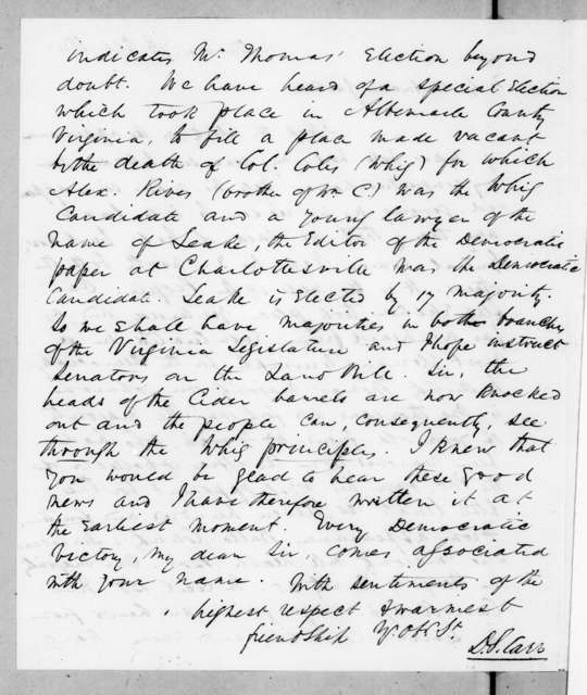 Dabney Smth Carr to Andrew Jackson, October 7, 1841