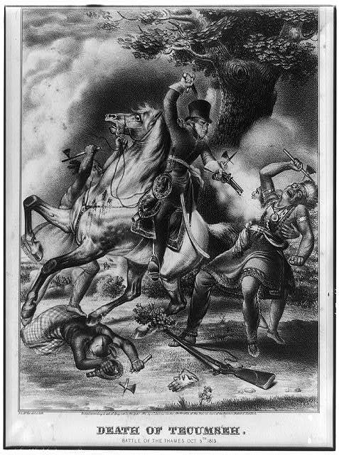 Death of Tecumseh. Battle of the Thames, Oct. 5th, 1813 / J. L. McGee, del et lith.