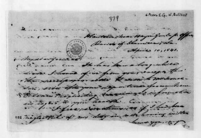 Edward George Washington Butler to Andrew Jackson, April 10, 1841