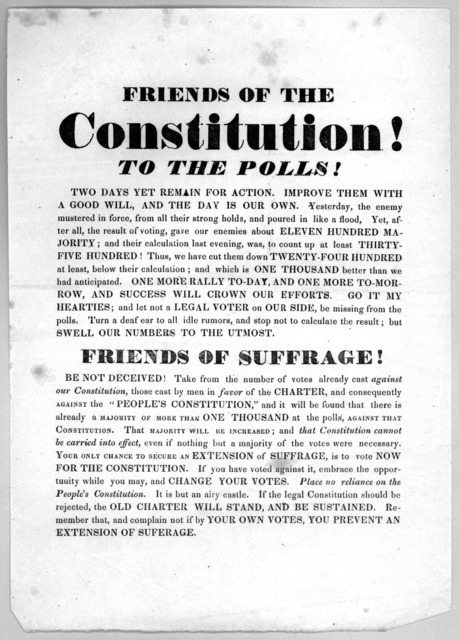 Friends of the Constitution! To the polls! Two days yet remain for action ... [1841].