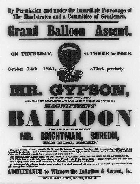 Grand balloon ascent, on Thursday, October 14th, 1841 ... Mr. Gypson, (from the Royal Zoological Gardens, London), will make his forty-fifth and last ascent this season ...