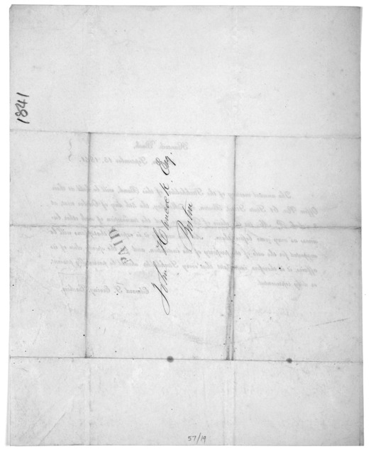 Hancock Bank, Boston, September 15, 1841. The annual meeting of the stockholders of this bank, will be held at their office No. 61 State Street, Boston, on Monday, the 4th day of October next, at 3 o'clock P. M. for the choice of directors ... E