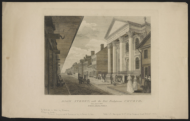 High Street, with the First Presbyterian church Philadelphia. Taken down in 1820 / designed & published by W. Birch enamel painter, 1800.