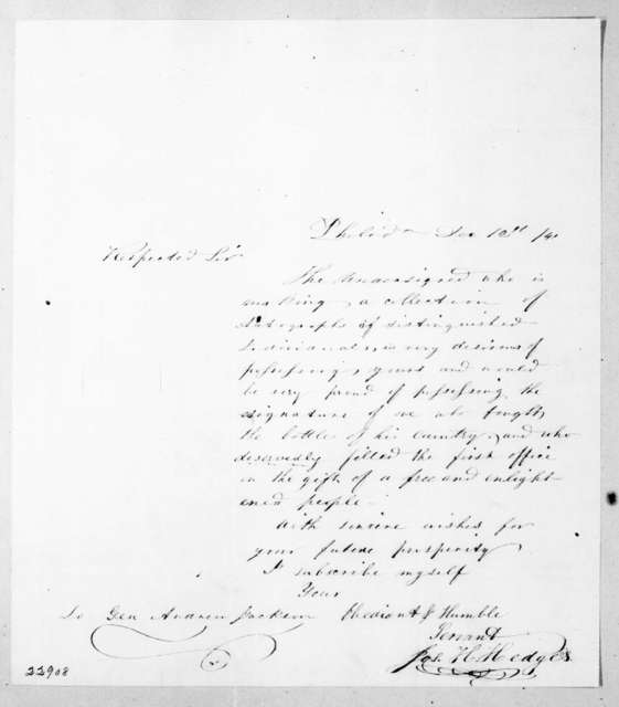 Joseph H. Hedges to Andrew Jackson, December 12, 1841