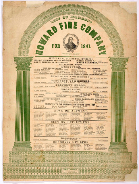 List of members of the Howard Fire Company for 1841. Bull & Tuttle, Job printers No. 7 North Gay Street.