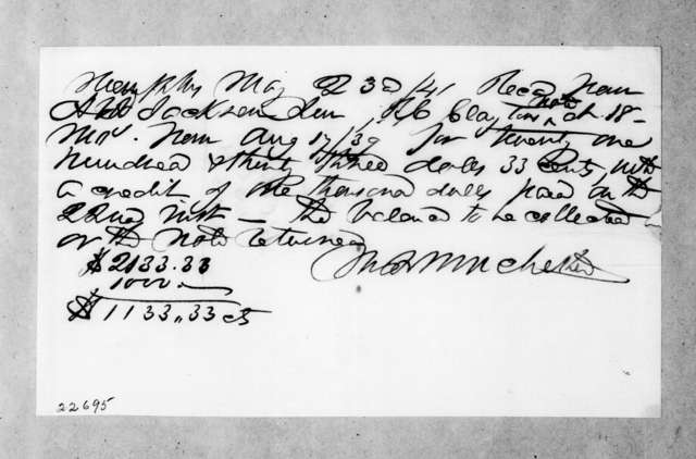 Marcus Brutus Winchester to Andrew Jackson, Jr., May 23, 1841