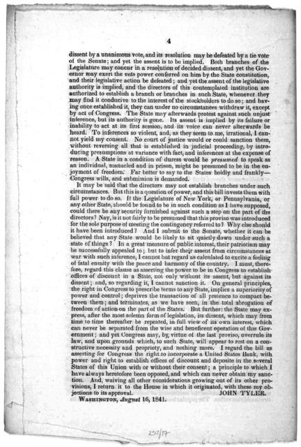 Message from the President of the United States, returning, with his objections, the bill to incorporate the fiscal bank of the United States. August 16, 1841. to the Senate of the United States ... John Tyler. Washington, August 16, 1841.