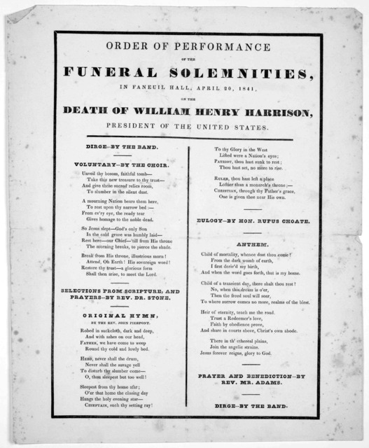 Order of performance of the funeral solemnities, in Faneuil Hall, April 20, 1841. on the death of William Henry Harrison, president of the United States.