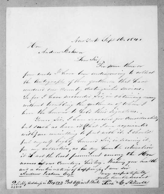 Richard E. Stilwell to Andrew Jackson, September 16, 1841