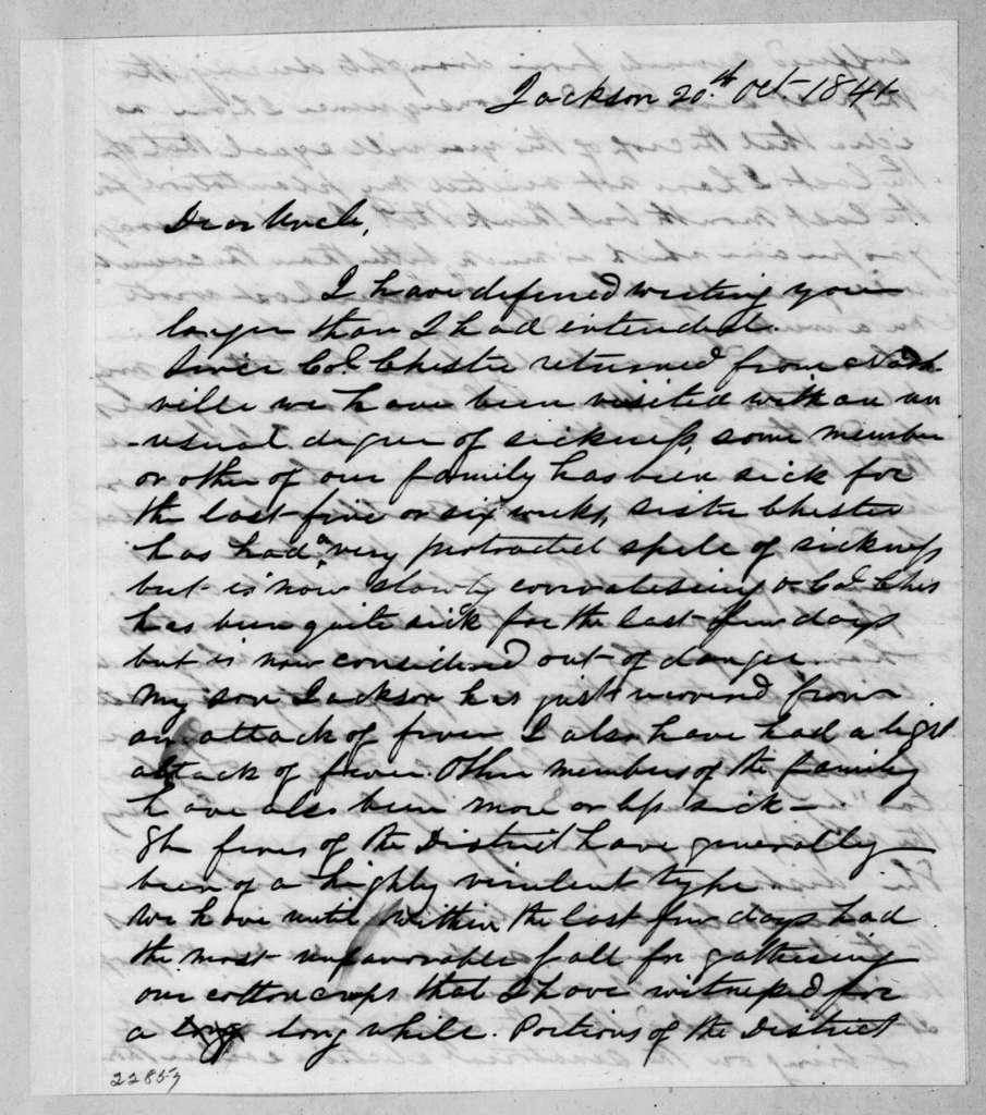 Samuel Jackson Hays to Andrew Jackson, October 20, 1841