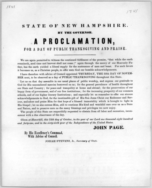State of New Hampshire. By the governor. A proclamation for a day of public thanksgiving and praise ... appointed Thursday, the 25th day of November next, to be observed as a day of public thanksgiving throughout this State ... Given at Haverhil