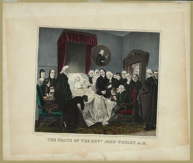 The death of the Revd. John Wesley A.M. / A. Biggerman del. ; MaGee's Lith Press, 49 So. Third St.