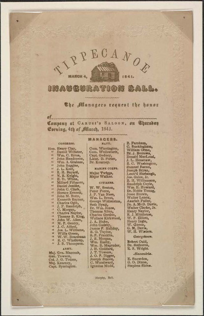 Tippecanoe inauguration ball, March 4, 1841 : [invitation].