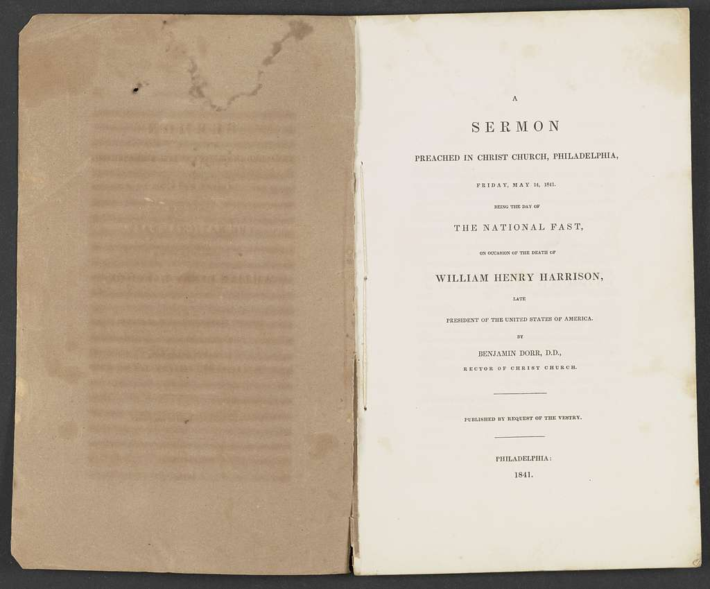 William Henry Harrison Papers: Series 4, Printed Matter, 1815-1922; Subseries B, Pamphlets Concerning Harrison; 1841 , sermons, 4 items