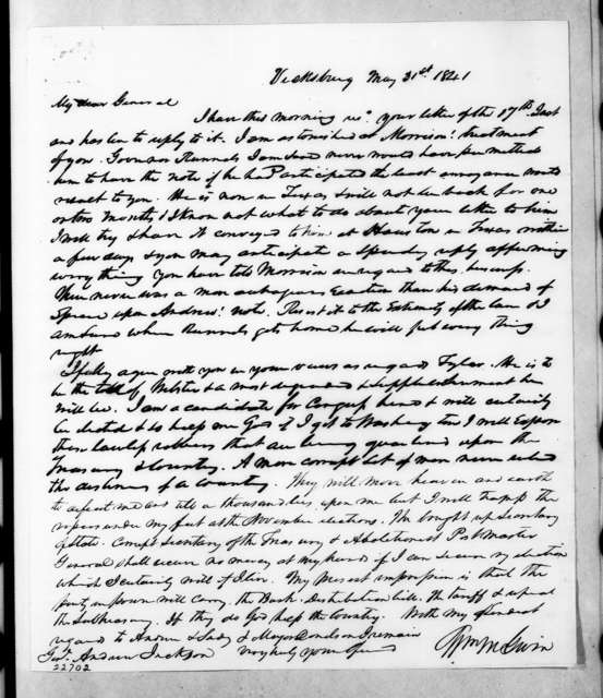 William McKendree Gwin to Andrew Jackson, May 31, 1841