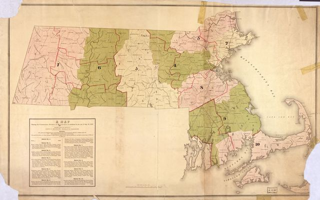 A map showing the Congressional districts of Massachusetts as established by the Act of Sept. 16, 1842 /