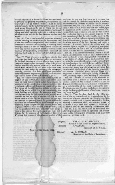 Act to provide for the liquidation of banks; and amendments to the bank bill. Printed at the office of the Bee 1842.