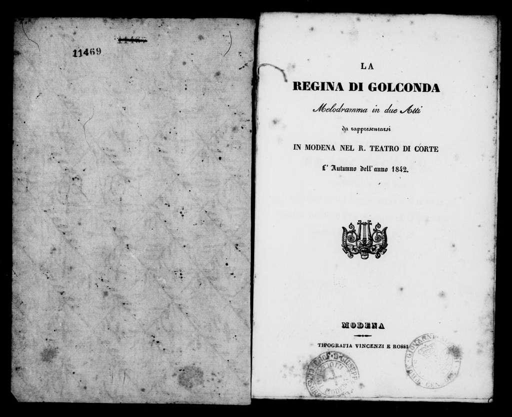 Alina, regina di Golconda. Libretto