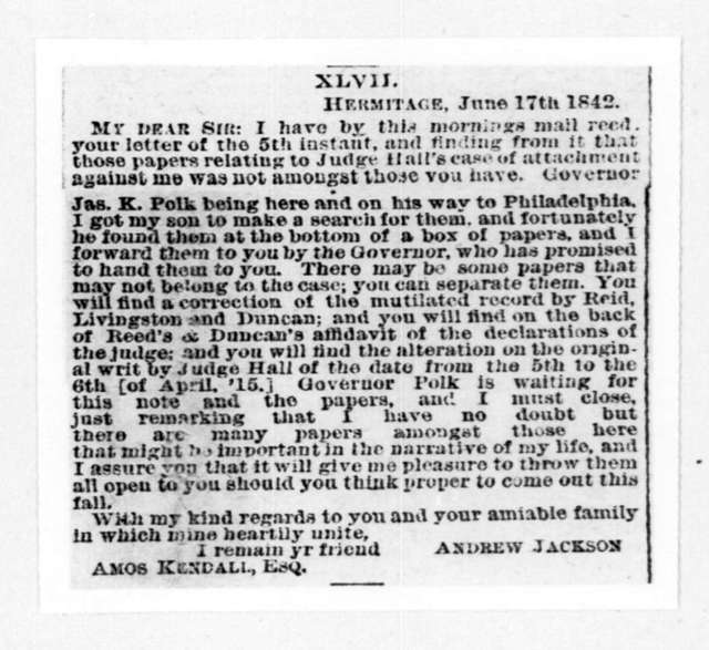 Andrew Jackson to Amos Kendall, June 17, 1842