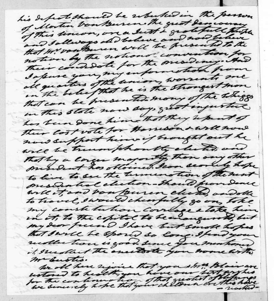 Andrew Jackson to Francis Preston Blair, November 25, 1842