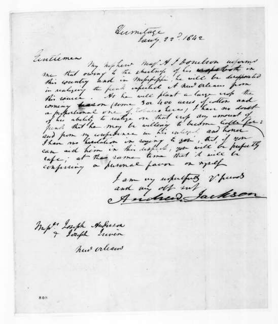 Andrew Jackson to Joseph Anderson, January 22, 1842