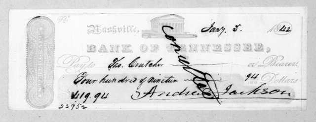 Andrew Jackson to Thomas Crutcher, January 5, 1842