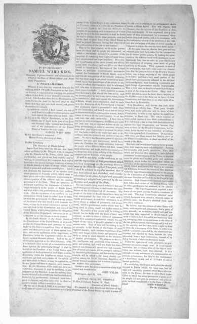 By His Excellency Samuel Ward King, Governor ... of the State of Rhode-Island and Providence plantations. A proclamation. Whereas I have this day received from his Excellency John Tyler, President of the United States, a communication touching t