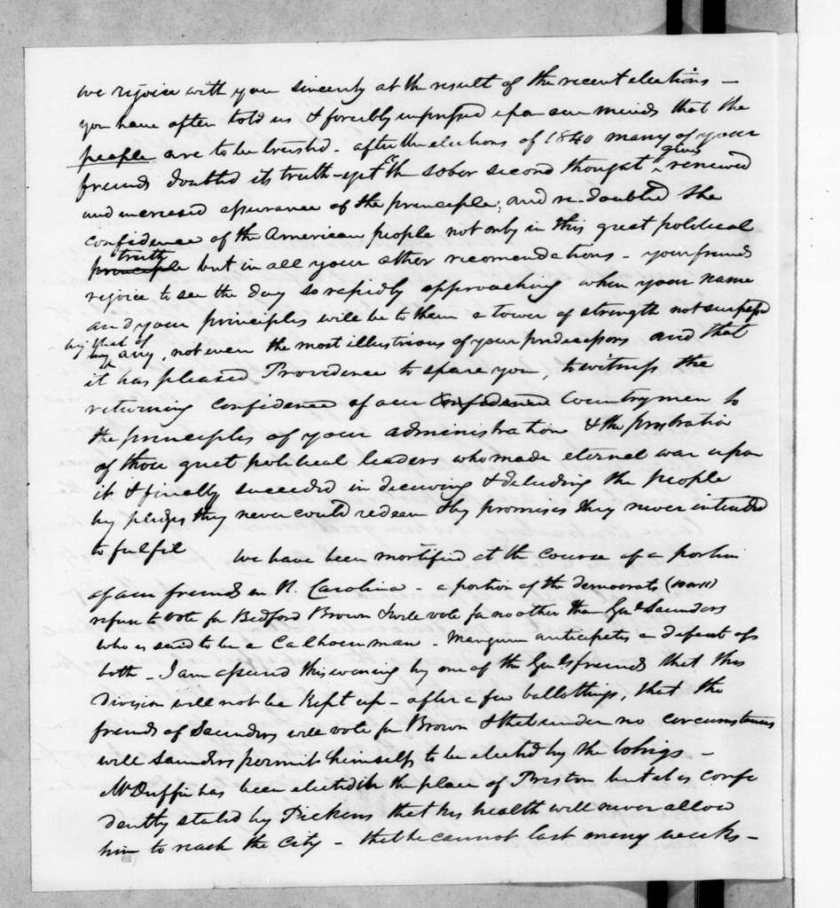 Cave Johnson to Andrew Jackson, December 8, 1842