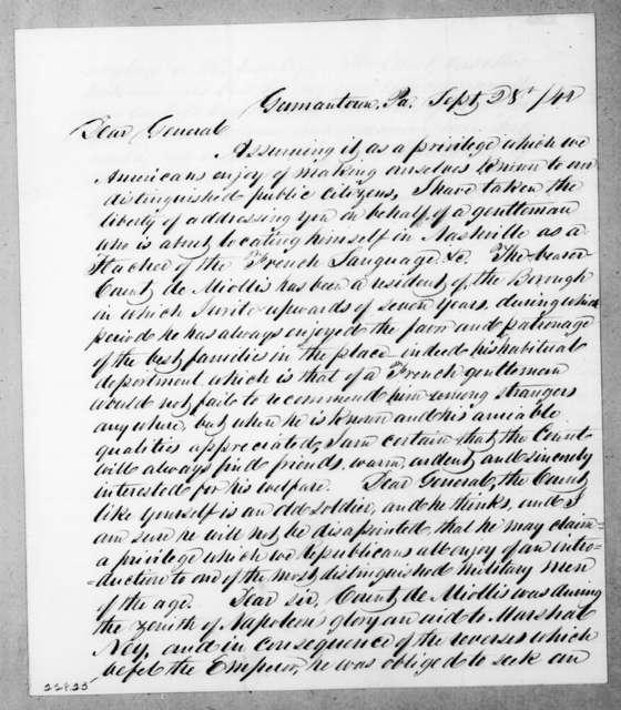 Charles Alexander to Andrew Jackson, September 28, 1842